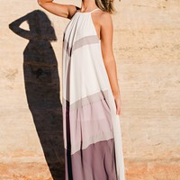 Palazzo Color Block Maxi (Cream/Purple)