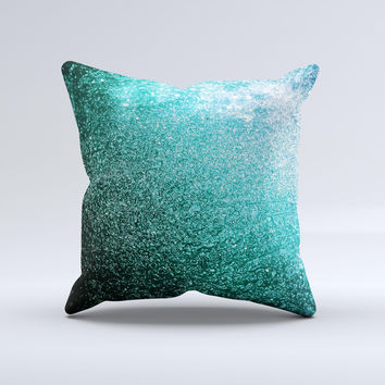 Grungy Teal Texture Ink-Fuzed Decorative Throw Pillow