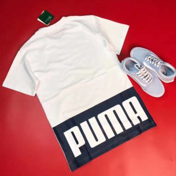 """PUMA"" Sports Casual Print  Short Sleeve Shirt  Tee Top  G-YF-MLBKS"