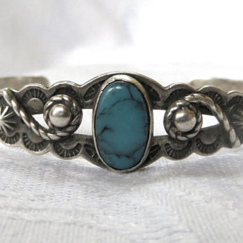Navajo Cuff Bracelet, Turquoise Center,  Etched Sterling Silver Leaves, Vintage Navajo Jewelry, Old Pawn