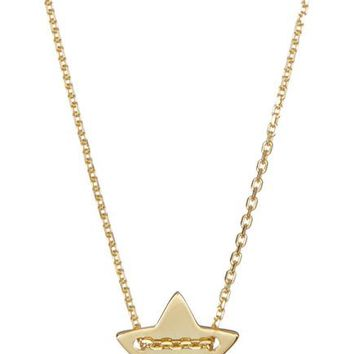 14K Yellow Gold Plated Diamond Detail Star Charm Necklace - 0.01 ctw