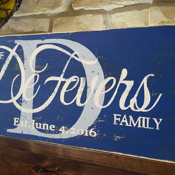 Rustic Personalized Wood Monogram Sign-Family Defevers Style