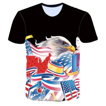 American Flag Bald Eagle T-Shirts - Men's Crew Neck Novelty Top Tee