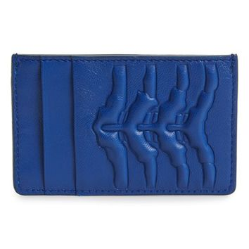 Men's Alexander McQueen Rib Cage Leather Card Holder