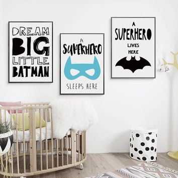 Bianche Wall Batman Super Hero Inspirational Cartoon Canvas Art Print Poster Painting, Picture Wall for Home Decoration