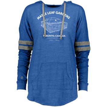 Retro Maple Leaf Gardens Ladies Hooded Low Key Pullover