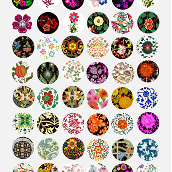 ornamental flowers Digital Collage Sheet 1 inch size Circle Images Printable Download for pendants bottle-caps bezel trays