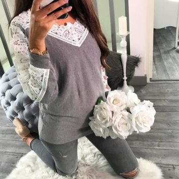 V-neck Hollow Out Lace Patchwork Women Long Sweater