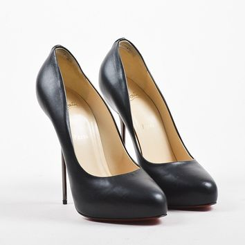 DCCK Black Christian Louboutin Leather Stiletto Heel   Big Lips 120   Pumps