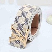 ONETOW LV Louis Vuitton Men's and Women's Tide Fashion Printed Plaid Belt F