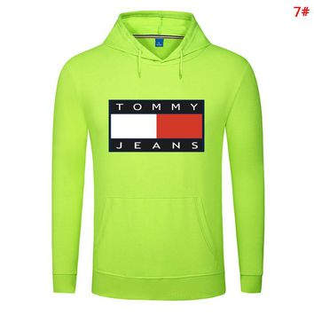 Tommy Fashion New Bust Letter Print Couple Solid Color Leisure Hooded Long Sleeve Sweater Top 7#