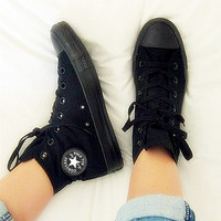 """Converse"" Fashion Canvas Flats Sneakers Sport Shoes Hight tops Black"