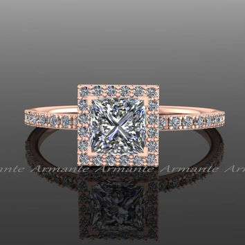 Moissanite Princess Cut  Engagement Ring, 14K Rose Gold Diamond And 1.00 carat Square Moissanite Halo Ring, Wedding Ring RE57.5R