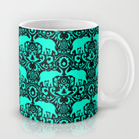 Elephant Damask Mint and Black Mug by Jacqueline Maldonado | Society6