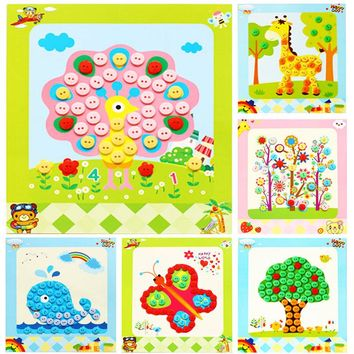 Kids Arts Crafts DIY Button Painting Toys Stickers Handmade Kits Children Early Educational Toy