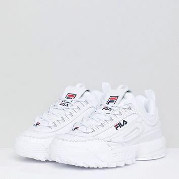 Fila Premium Disruptor Trainers In White at asos.com