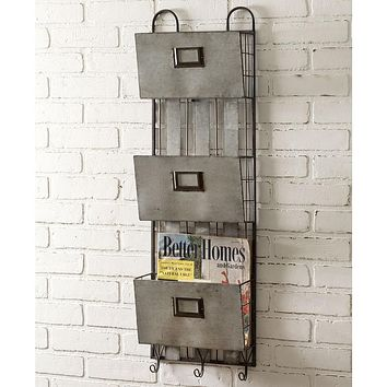 Industrial Three Pocket Metal Wall Organizer