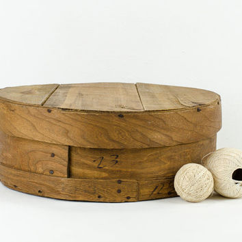 Large Rustic Round Wooden Cheese Box