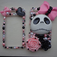 Jack Skellington nightmare before christmas IPHONE 4 4S front & back case,skeleton,disney,pink,black,bling,rhinestone,pearl,flower,heart