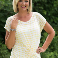 Draped For Fun Striped Top - Yellow