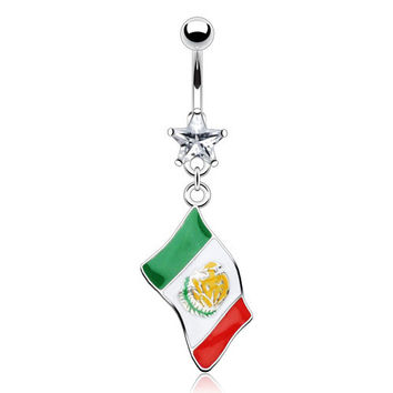 """316L Surgical Steel & Star Gem Belly Ring W/Epoxy """"Flag of Mexico"""" Dangle"""