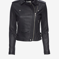 IRO EXCLUSIVE Hana Cropped Leather Moto Jacket: Midnight | Shop IntermixOnline.com