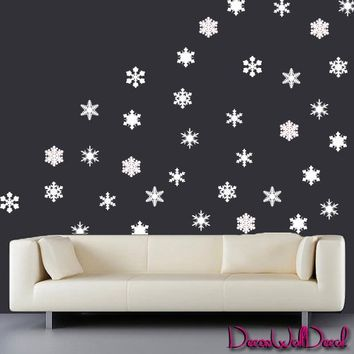 Wall Decals Snowflakes Set of 35 Holidays Merry Christmas Vinyl Sticker Decor Surface Graphics By Decals Murals Art Bedroom Design Home Room Gift M1620