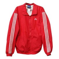 Vintage 90s Adidas Brand Red White Striped Zipper Windbreaker Jacket | Adult Size Extr