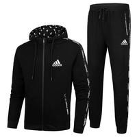 ADIDAS 2018 autumn and winter new men's sports and leisure fitness two-piece Black