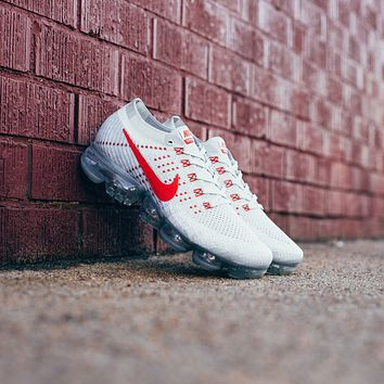 hcxx Nike Air VaporMax Flyknit - pure platinum/ university red