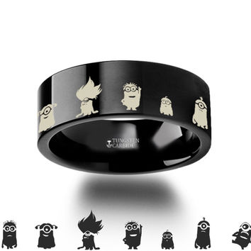 Minions Despicable Me Tungsten Engraved Ring 8mm