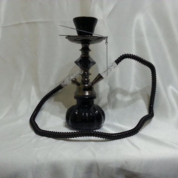 Turkish nargile black hookah, water pipe, narghile, hubble-bubble, hooka, shisha