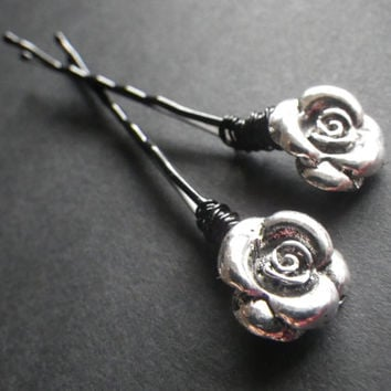 Silver Rose- Romantic- Goth- Cute- Sexy- Black Hair Pins- Beaded Bobby Pins- Summer Hair Fashion Accessory- Birthday- Gift for Her