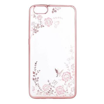 May miky Flora Diamond Case for Huawei Honor 4 4A 4C 5 5X 5C Flower Bling Soft TPU Clear Phone Back Cover for Honor 6 plus 7 7i