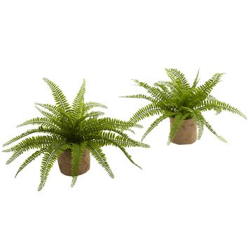 Artificial Plant -Boston Fern With Burlap Planter -Set Of 2 Silk Plant