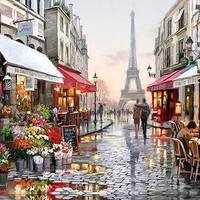 "DIY Painting by Numbers Canvas Painting Set - ""Parisian Street"""