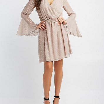 Bell Sleeve Surplice Skater Dress | Charlotte Russe