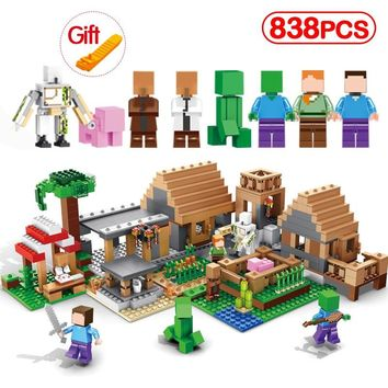 My World The Farm Compatible Legoinglys Minecrafted Village Cottage Building Blocks House Figures Brick Toys For Children Gifts