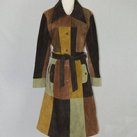 Vintage Hippie Patchwork Suede Trench Coat M Boho Spy Girl Maxima by Wilsons Leather