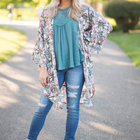 Like We Use To Butterfly Sleeve Floral Kimono (Pink & Auqa)