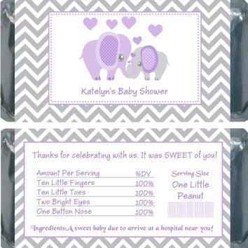 10 Purple Elephant Baby Shower Chocolate Bar Wrappers