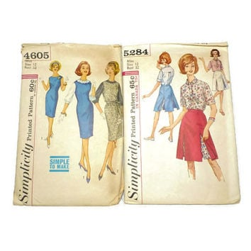 Two Vintage Simplicity Dress Pattern Skirt 4605 5284 Size 12 Bust 32 1960's Retro Clothes Pattern