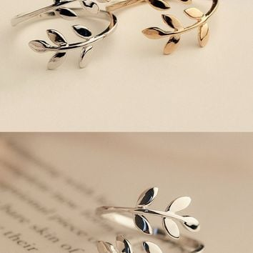 Charms Two colors Olive Tree Branch Leaves Open Ring  Adjustable Knuckle Finger