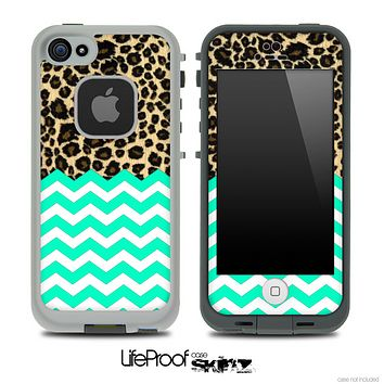 Mixed Cheetah and Trendy Green Chevron Pattern Skin for the iPhone 5 or 4/4s LifeProof Case
