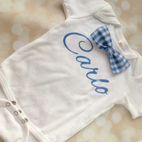 Personalized Baby Boy Outfit, Set, Bodysuit and Plaid Blue Bowtie