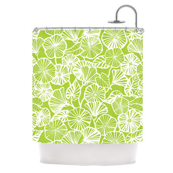 "Jacqueline Milton ""Vine Shadow - Lime"" Green Floral Shower Curtain"