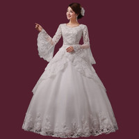 Princess beaded lace 2015 new long sleeved wedding dress Sweet Princess lace bride wedding pregnant women dress = 1930094340
