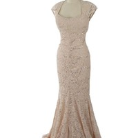 Sequined Champagne Lace Cap Sleeve Gown-Evening Dress
