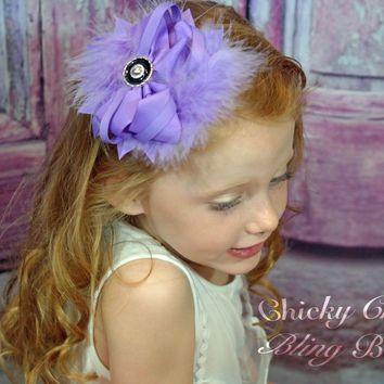 Marabou Feather Flower Shaped Hair Bow