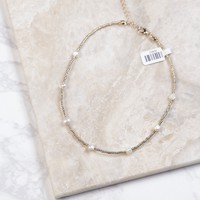 Gold With White Stone Beaded Choker, Gold